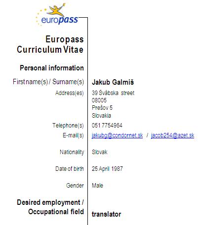 Curriculum Vitae Europass V Anglictine Zivotopis Zadania
