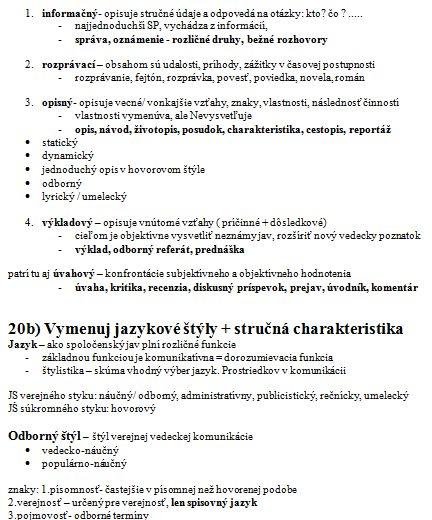 Slovenska Jazyk A Literatura Vypracovane Otazky Zadania Seminarky Sk