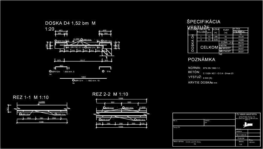 Betonove Konstrukcie Vykresy Vystuze V Cade Technicky Vykres